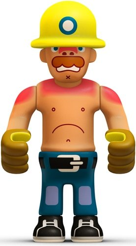 Bernd  figure by Eboy, produced by Kidrobot. Front view.