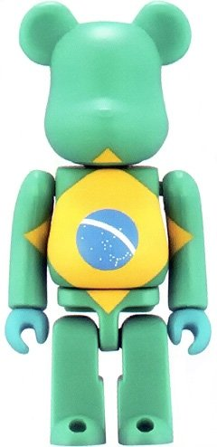 Brazil - Flag Be@rbrick Series 3 figure, produced by Medicom Toy. Front view.