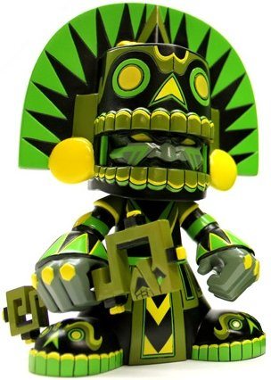 Jungle Mictlan - Kidrobot Exclusive  figure by Jesse Hernandez, produced by Kuso Vinyl. Front view.