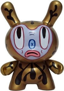 Gary Baseman Gold Dunny figure by Gary Baseman, produced by Kidrobot. Front view.