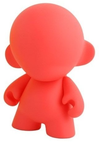 Mini Munny - Red DIY figure, produced by Kidrobot. Front view.