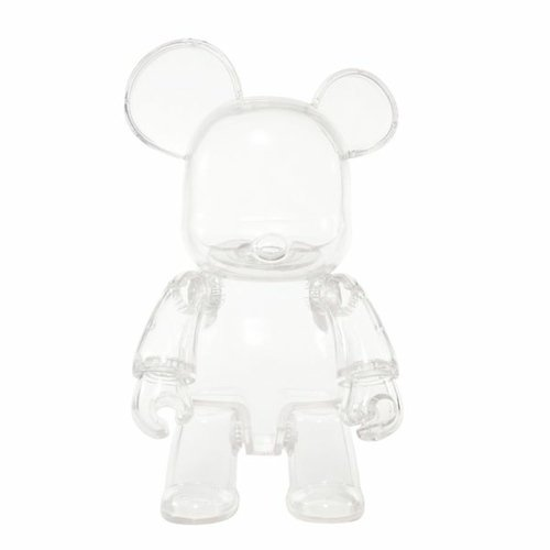 Transparent Qee Bear figure, produced by Toy2R. Front view.