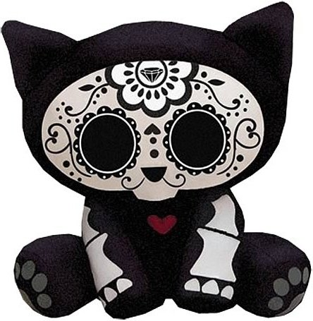 Skelanimals Day of the Dead Kit (Cat) 6-Inch Plush figure by Mitchell Bernal, produced by Toynami. Front view.