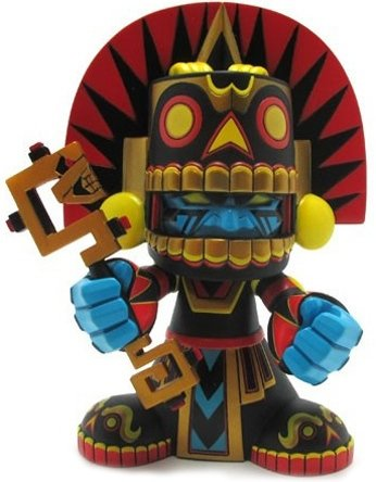 Mictlan OG figure by Jesse Hernandez, produced by Kuso Vinyl. Front view.