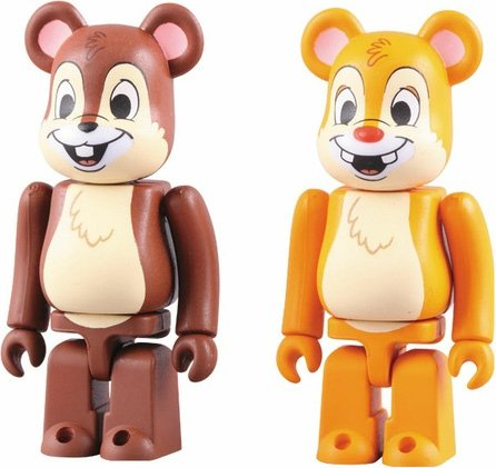 Chip n Dale Be@rbrick 2 Pack figure by Disney, produced by Medicom Toy. Front view.