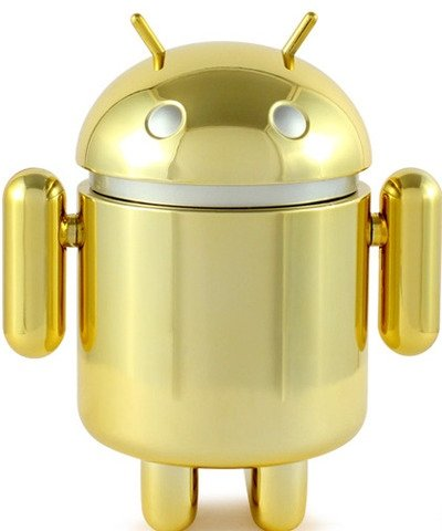 Gold Android figure by Google Inc, produced by Dyzplastic. Front view.