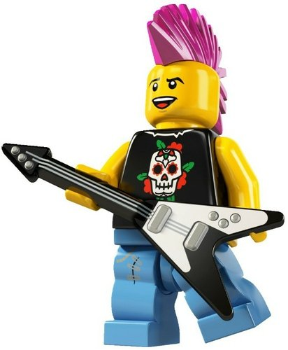 Punk Music Guitarist figure by Lego, produced by Lego. Front view.