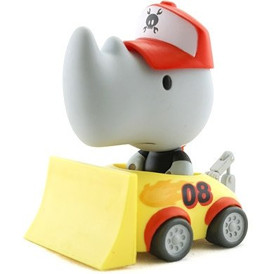 Ed Towtruck figure by Paul Budnitz, produced by Kidrobot. Front view.