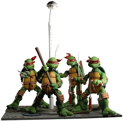 Teenage Mutant Ninja Turtle NYCC Edition figure, produced by Neca. Front view.