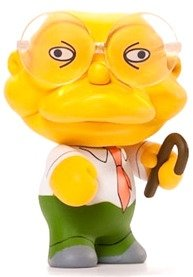Hans Moleman  figure by Matt Groening, produced by Kidrobot. Front view.