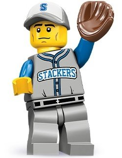 Baseball Fielder figure by Lego, produced by Lego. Front view.