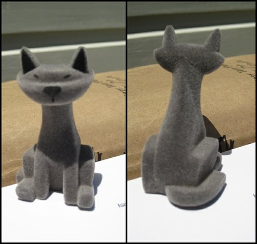 Grey Flocked Kitty  figure by Ashley Wood, produced by Threea. Front view.