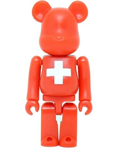 Switzerland - Flag Be@rbrick Series 8 figure, produced by Medicom Toy. Front view.