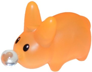 Happy Labbit  figure by Frank Kozik, produced by Kidrobot. Front view.