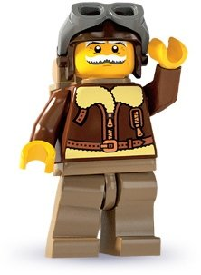 Pilot figure by Lego, produced by Lego. Front view.