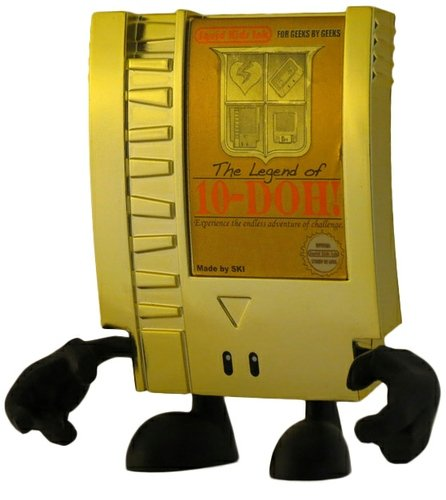 The Legend of 10-DOH! (Gold Chase)  figure by Nate Mitchell, produced by Squid Kids Ink. Front view.