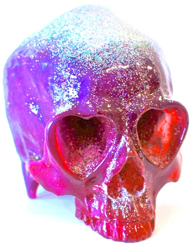 Heart Skull - Purple Glitter