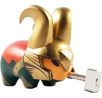 Loki Labbit figure by Marvel, produced by Kidrobot. Front view.