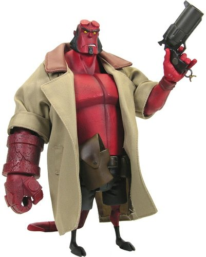 10 Hellboy Animated w/ Coat - Action Figure Xpress Exclusive figure by Mike Mignola, produced by Gentle Giant. Front view.