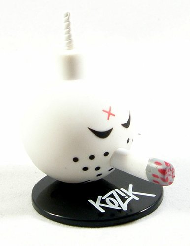 White Bomb figure by Frank Kozik, produced by Toy2R. Front view.