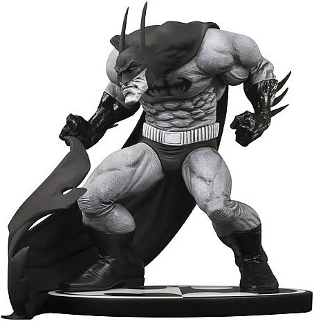 Batman Black & White Statue figure by Sam Kieth, produced by Dc Direct. Front view.