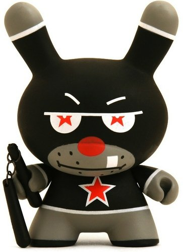Nunchucks figure by Frank Kozik, produced by Kidrobot. Front view.