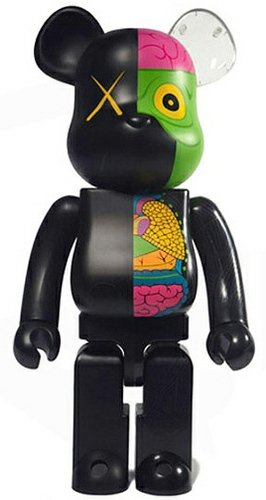 Dissected Companion Be@rbrick 1000% - Black figure by Kaws, produced by Medicom Toy. Front view.