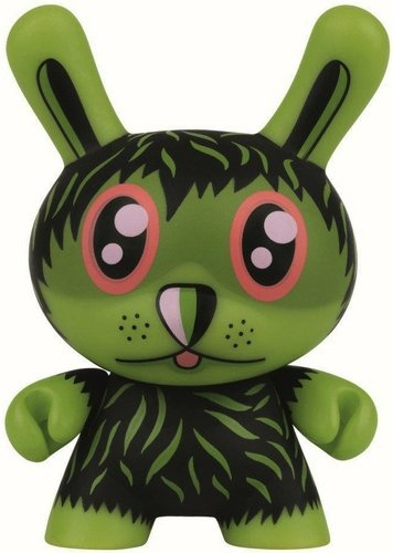 The So Far Away Dunny figure by Jeremyville, produced by Kidrobot X Swatch. Front view.