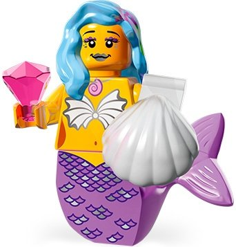 Marsha Queen of The Mermaids figure by Lego, produced by Lego. Front view.