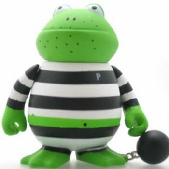 Shamus Muldoon - Jail Variant figure by Frank Kozik, produced by Kidrobot. Front view.