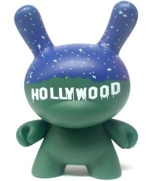 Hollywood figure by Chad Phillips, produced by Kidrobot. Front view.