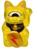 Mini Fortune Cat - Clear Yellow w/ Red Lightning Bolt