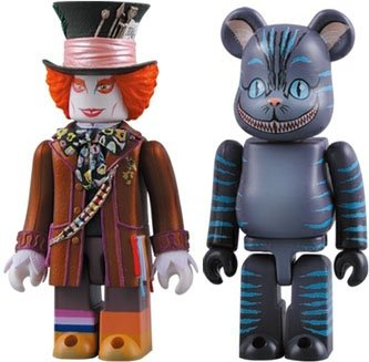 Mad Hatter Kubrick & Cheshire Cat Be@rbrick 100% Set figure by Disney, produced by Medicom Toy. Front view.