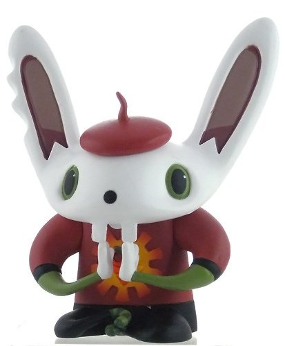 BunniGuru figure by Nathan Jurevicius, produced by Flying Cat. Front view.