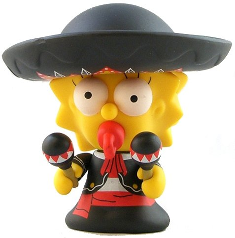 Mariachi Maggie figure by Matt Groening, produced by Kidrobot. Front view.