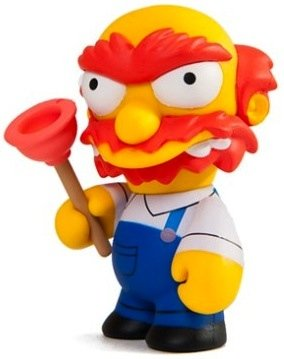 Groudskeeper Willie figure by Matt Groening, produced by Kidrobot. Front view.