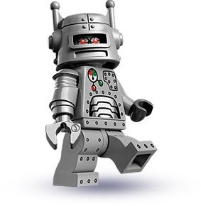 Robot figure by Lego, produced by Lego. Front view.