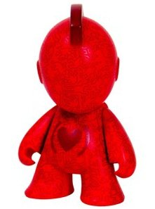 Kidrobot x (RED) x Keith Haring Bot 3 figure by Keith Haring, produced by Kidrobot. Front view.