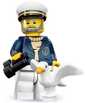 Sea Captain figure by Lego, produced by Lego. Front view.