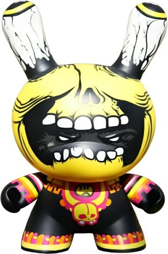 Mictlantecuhtli Dunny figure by Saner, produced by Kidrobot. Front view.