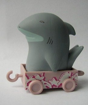 Shark figure by Kid Acne, produced by Kidrobot. Front view.