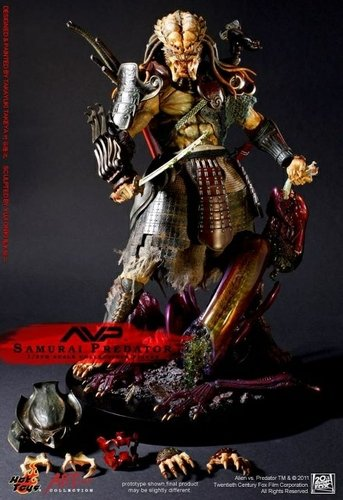 AvP Samurai Predator figure, produced by Hot Toys. Front view.