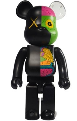 Dissected Companion Be@rbrick 400% - Black  figure by Kaws, produced by Medicom Toy. Front view.