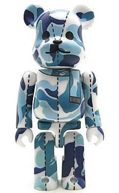 Bape Play Be@rbrick S1 - Blue Camo figure by Bape, produced by Medicom Toy. Front view.