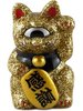 Mini Fortune Cat - Gold Glitter - Silver Eye