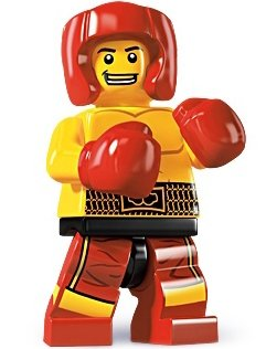 Boxer figure by Lego, produced by Lego. Front view.