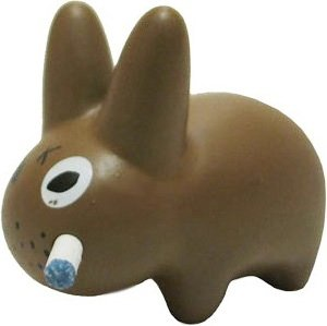 Brown Labbit figure by Frank Kozik, produced by Kidrobot. Front view.