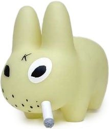 10 GID Smorkin Labbit figure by Frank Kozik, produced by Kidrobot. Front view.