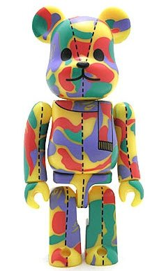 Bape Play Be@rbrick S1 - Psychedelic Camo figure by Bape, produced by Medicom Toy. Front view.