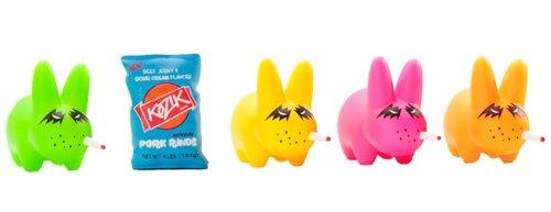 Stoner Fort Labbit 5-Pack figure by Frank Kozik, produced by Kidrobot. Front view.